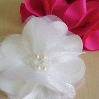 - Bridal Flower? White Satin y Chiffon with pearls and swarovskys