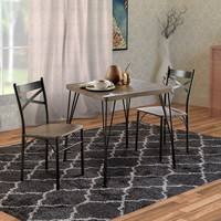 Industrial Style 3 Piece Dining Table Wood And Metal, Brown And Black