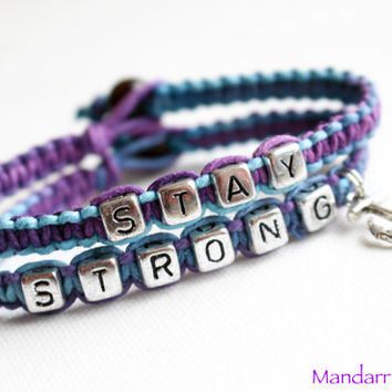 Purple Haze Hemp Bracelet Set, Anchor Charm, Stay Strong Recovery Jewelry, Nautical Accessory, Gift for Her, Block Letters