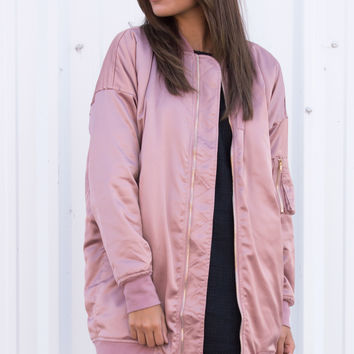 Rose Gold Oversized Bomber Jacket
