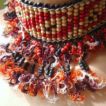 Wood beads and vintage tattling on red necklace
