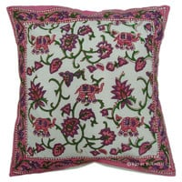 White Indian Elephant Floral Decorative Cotton Pillow Cover