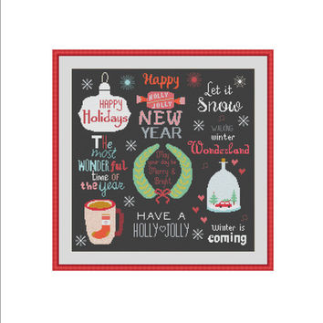 Christmas cross stitch, Happy Holidays, Let it snow, Holly and jolly, Winter is coming, Winter wonderland, New year eve, Modern cross stitch