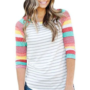 Colorful Stripes Raglan Sleeve Womens Top