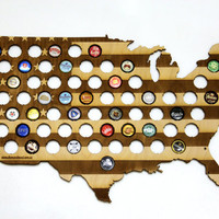 USA Beer Cap Map LASER ENGRAVED, Beer Bottle Cap Holder, Beer Cap Display, Beer Gift, Gift for Him, Groomsmen gift, Father's Day Gift, 2