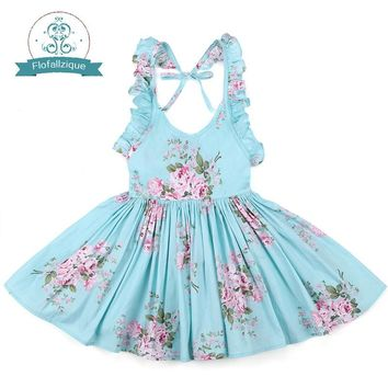 Baby Girls Dress Brand Summer Beach Style Floral Print Party Backless Dresses For Girls Vintage Toddler Girl Clothing 1-9Yrs