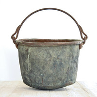 Large Rustic Copper Cauldron