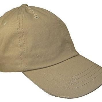 Distressed Weathered Vintage Polo Style Baseball Cap (One Size, Khaki Tan)