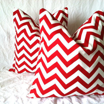 Christmas Pillow Covers -, 20 x 20, One, Red Chevron Pillows, Red Zig Zag Pillows, Holiday Pillows, Fun Pillows, Christmas Decor, Whoville