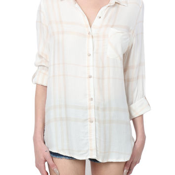THREAD & SUPPLY PREMIUM DESIGN Womens Ultra Soft Plaid Button Down Tunic Shirt (CLEARANCE)