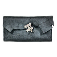 Womens Leather Wallet - Black Wallet with Rustic Raw Edge Distressed Leather