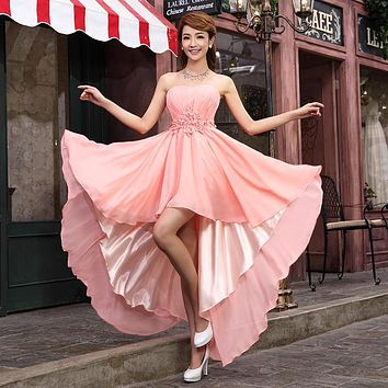 Evening Dress 2016 Flowers Crystal Sleeveless Short Front Long Back Chiffon Bride Wedding Party Dress