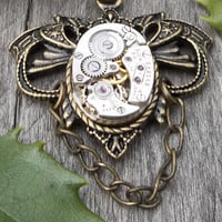 Clockpunk Steampunk Necklace, Stainless Steel Watch Movement & Antiqued Brass Pendant on Antiqued Brass Cable Link Chain