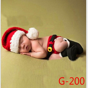 3PCS/Set 0-6Month Newborn Baby photography Hand-knit Beauty Santa Claus Style Photo Prop Brown (Size: 0-6m, Color: Red) = 1958205252