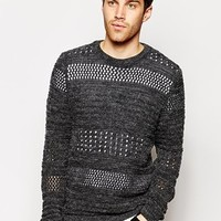 ASOS Sweater with Brushed Texture - Gray