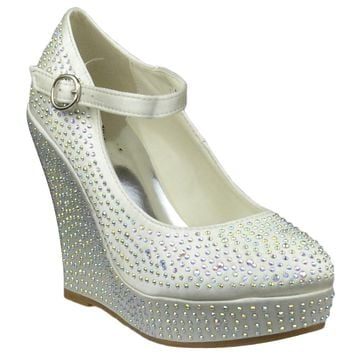 Womens Platform Shoes Rhinestone Studs Wedges Champagne