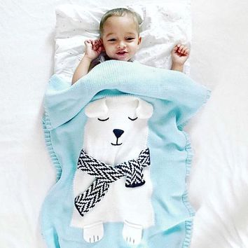 Crochet Bear Stroller Blanket for Kids