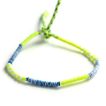 Neon Green and White Friendship Bracelet and Anklet, Neon Green, White, Dark Blue Wanderlust Friendship Anklets