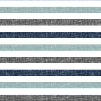 stripes || navy grey dusty blue fabric - littlearrowdesign - Spoonflower