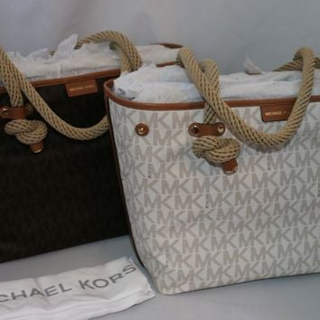 Michael Kors MK Signature Maritime Rope-Handle Medium Beach Tote Bag Brown Vanil