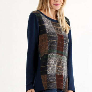 Put Together Patchwork Navy Long Sleeve Blouse