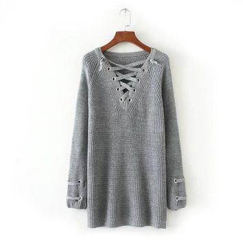 Women's Long Sleeve Knitwear Criss-Cross Chest Pullover Sweater
