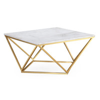 Leopold White Marble Cocktail Table | Overstock.com Shopping - The Best Deals on Coffee, Sofa & End Tables