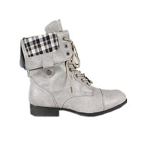 New! Military Combat Boot Fold-over Cuff+multi-color Zipper on the Back (7, black)