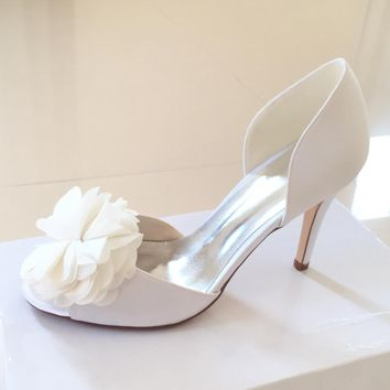 Creativesugarsatin D'orsay flower charm open toe woman shoes bridal wedding party evening dress pumps lady heels white pink blue