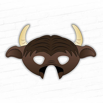 Buffalo Mask, Water Buffalo,  Bison Mask Printable Animal Masks, Halloween, Party Mask, For Kids, Photo Booth Prop, Chief Bogo, Mascot Mask