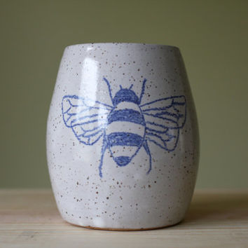 Blue Bee on Antique White Vase - Bowl - Mini Flower Pot- handmade and wheelthrown ceramics
