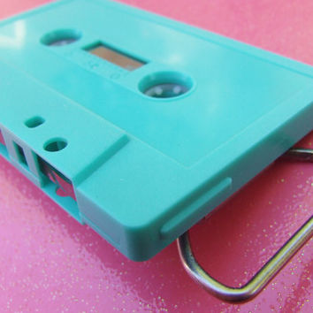 Tape Cassette Belt Buckle - Turquoise Blank Single Cassette Tape - Vintage Retro Upcycle Salvage - Unisex Accessories
