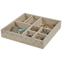 Wood Jewelry Tray - jewelry Organizer - 8 Section Jewelry Tray / Drawer Organizer / Storage Tray (Silver)