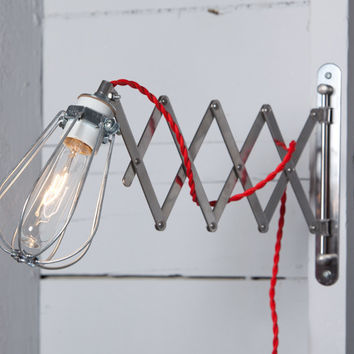 Scissor Wall Lamp - Industrial Wall Light - Wire Cage Sconce