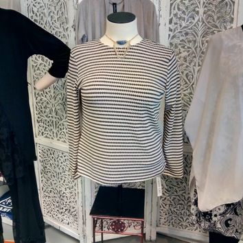 Long Sleeved Soft Striped Black and Cream Blouse