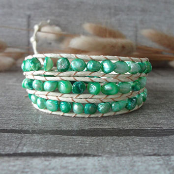 Beaded Wraps Simulated Leather Wrap Bracelet Beaded Strand Wrap Bracelet 3 Wraps Pearl Dyed 12404