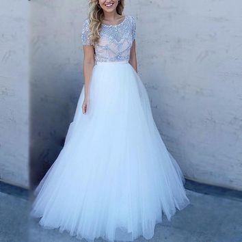 Short Sleeve Scoop White/Pink Prom Dress 2017 with Crystal Sheer Strap Lace A Line Sexy Party Dresses Custom Made Evening Gowns