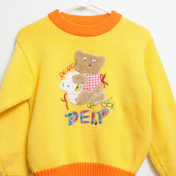 Amazing Vintage Knit Orange and Yellow Sweater With Amazing Bears With Google Eyes On Front Unisex