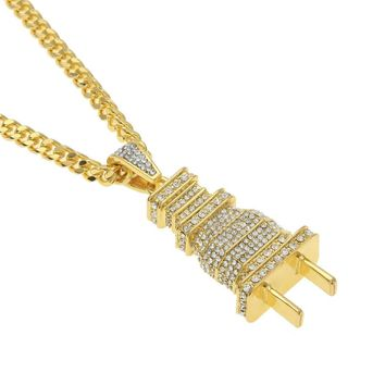 Fully Lced Out Diamond Bling Power Plug Pendant Hip Hop Cuban Necklace Chain