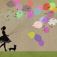 girl with balloons Art Print by Elisandra | Society6