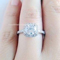 Cushion Cut Cubic Zirconia Diamond Ring - Simulated Diamond Ring