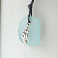 Eagle Feather Sea Glass Necklace of Courage and Strength by Wave of Life