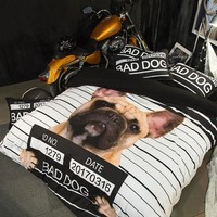 Polyester Bedding Sets Bad Dog Printed Comfortable Twin/queen/king