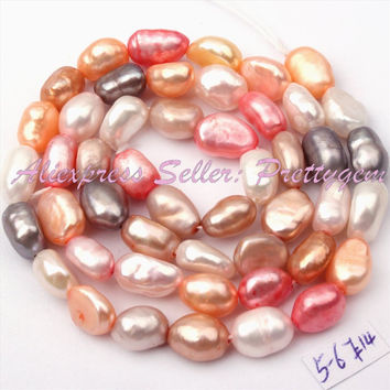 Free Shipping 4-6x5-8mm Natural Multicolor Freeform Freshwater Pearl Gem Stone For DIY Necklace Jewelry Making Spacer Beads 14""