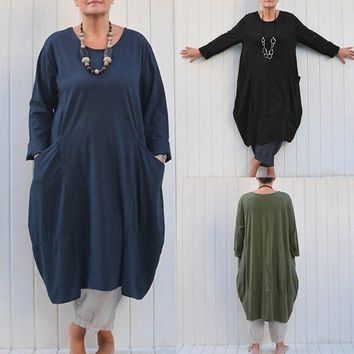 Women Long Sleeve Crewneck Baggy Loose Casual Solid Retro Top Shirt Dress Kaftan