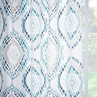 Cotton Canvas Mosaic Medallion Curtain - Blue Lagoon