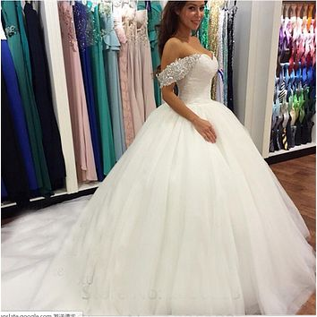 9029 2016 White Ivory formal Crystal Beads Wedding Dresses With Train Prom Gown Bridal Dress plus size 2-14 16 18 20 22 24 26
