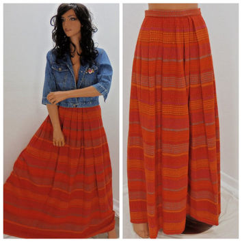 Long hippie 60's skirt, XS, vintage 1960's wool maxi skirt,  handmade boho skirt, Orange retro maxi skirt, Sunny Boho