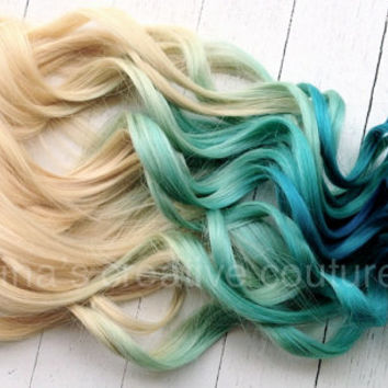 "Mermaid Blonde Ombre, Blonde Hair extensions dipped in Pastel Blue faded into Ocean Blue, 7 Pieces, 18"",  READY TO SHIP"