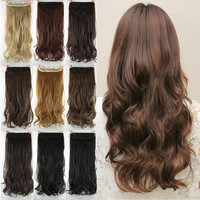 60cm Synthetic Clip In Hair Extension Heat Resistant Hairpiece. Natural Curly Wavy Hair Extensions